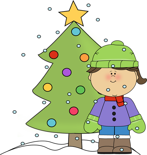Little Girl Christmas Tree: Little Girl With Christmas Tree In The Snow Clip Art