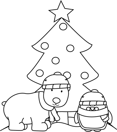 Black and White Polar Bear, Penguin and Christmas Tree