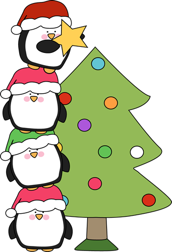Penguins Putting a Star on a Christmas Tree Clip Art ...