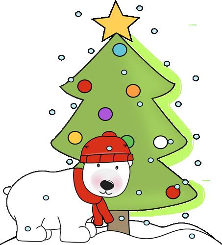 Polar Bear and Polar Bear and Christmas Tree in the Snow