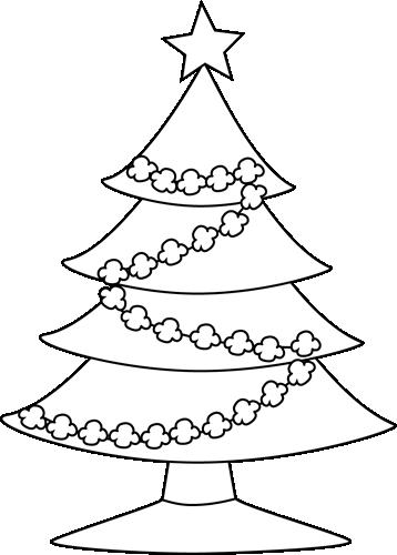 Black and White Popcorn Christmas Tree Clip Art - Black ...