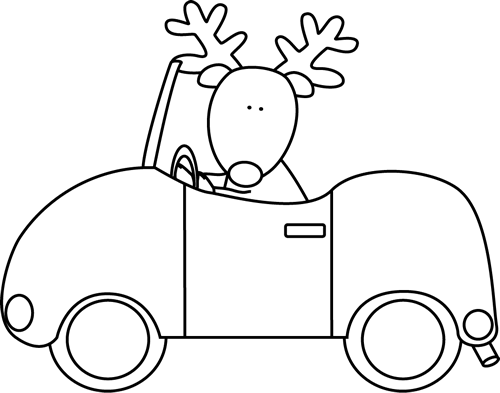 Black and White Reindeer Driving a Car