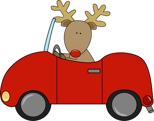 Reindeer Driving a Car