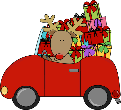 Reindeer Driving a Car Filled with Gifts