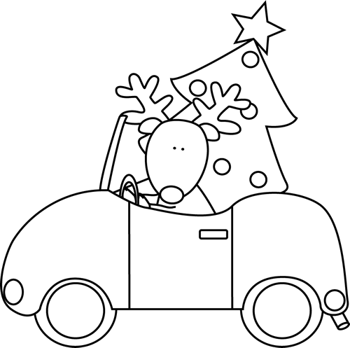 Black And White Reindeer Hauling A Christmas Tree
