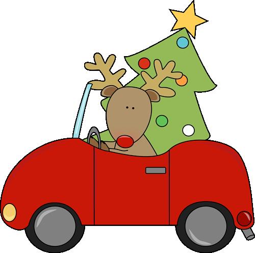 Reindeer Hauling a Christmas Tree