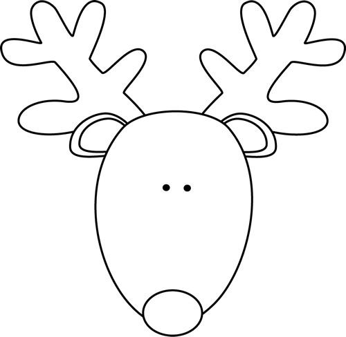 Black and white reindeer head clip art black and white for Rudolph the red nosed reindeer template