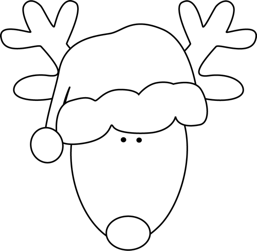 Black and White Reindeer Head and Santa Hat