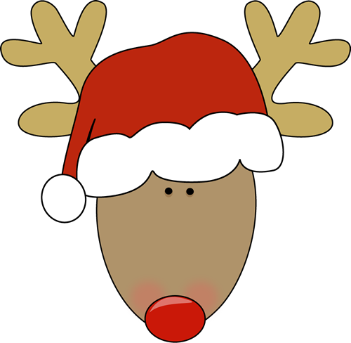 Reindeer Head with Santa Hat