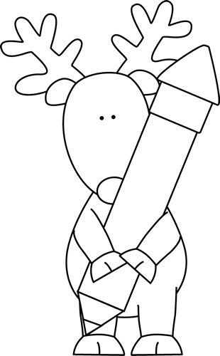 Black and White Reindeer Holding a Pencil