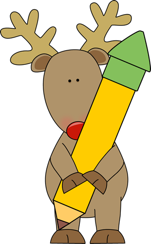Reindeer Holding a Pencil