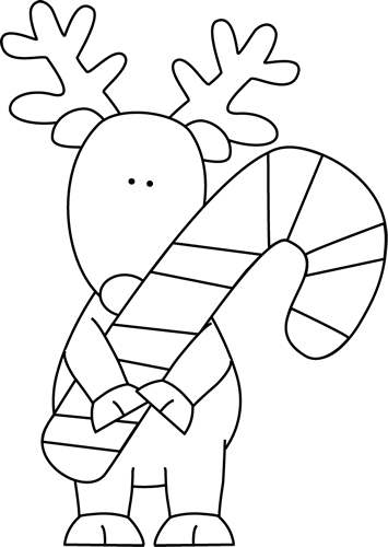 Black and White Reindeer Holding a Candy Cane