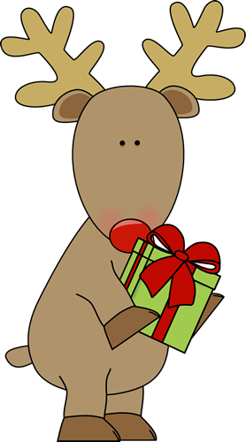 reindeer holding a christmas gift - Christmas Reindeer Pictures