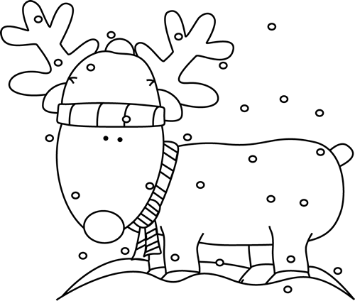 Black and White Reindeer in the Snow