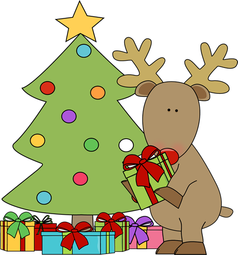 Reindeer Putting Presents Under the Tree Clip Art ...