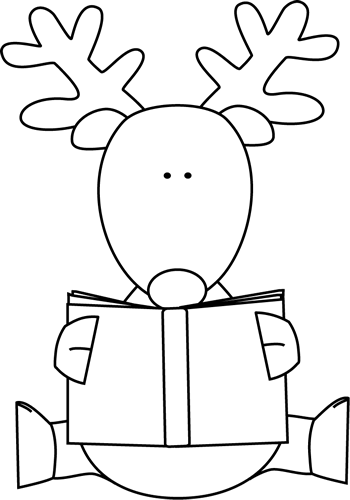Black and White Reindeer Reading a Book