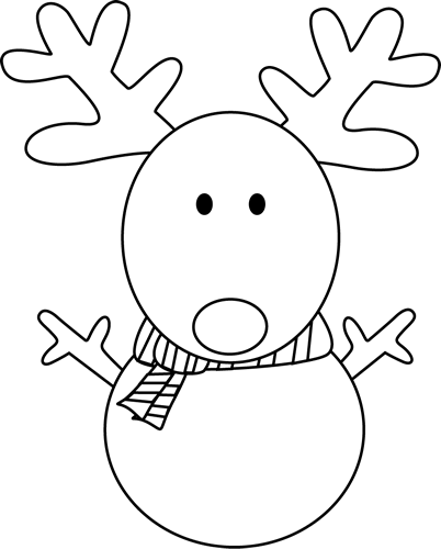 Black and White Reindeer Snowman