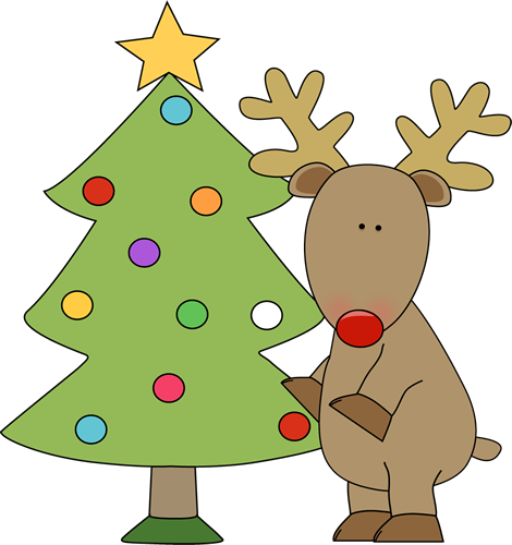 Reindeer Standing By a Christmas Tree