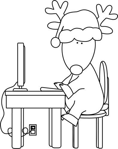 Black and White Reindeer Using a Computer