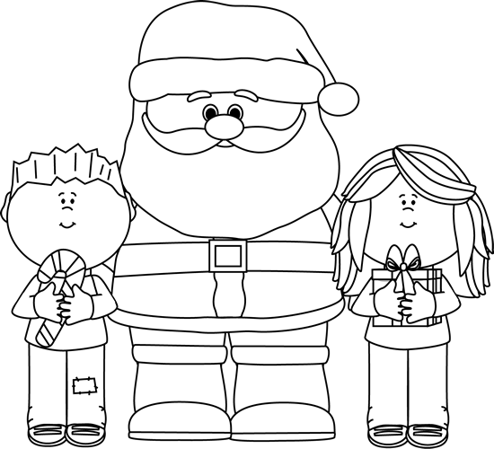 Black and White Santa with Kids