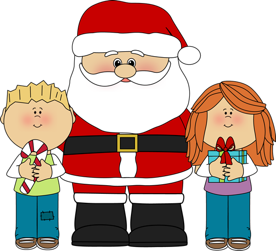 Santa and Kids Clip Art - Santa and Kids Image