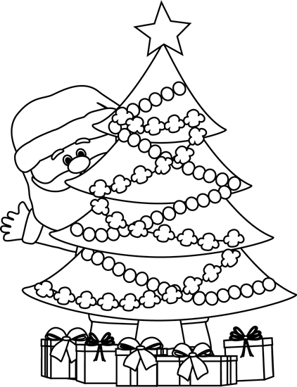 Black And White Santa Behind Christmas Tree Clip Art Black And