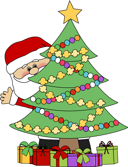 santa behind a christmas tree clip art santa behind a christmas rh mycutegraphics com clip art christmas tree light clip art christmas tree ornaments