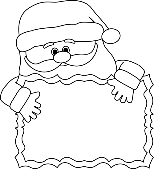Black and White Santa Sign Clip Art - Black and White ...