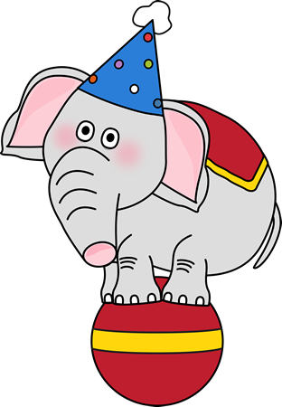 Circus Elephant on a Ball Clip Art