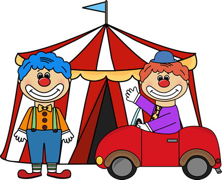 ... circus theme setting with a circus tent and two circus clowns