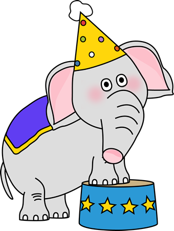 Circus Elephant on a Stool Clip Art