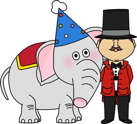 Circus Elephant and Ringmaster Clip Art