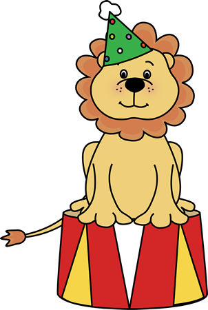 Circus Lion on a Stool Clip Art