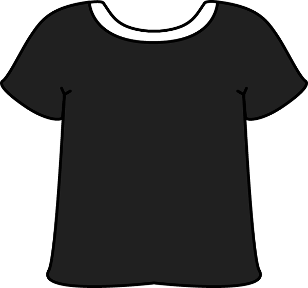 Black Tshirt with White Collar with White Collar