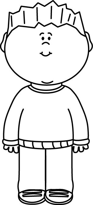 Black & White Boy Wearing a Sweater Clip Art