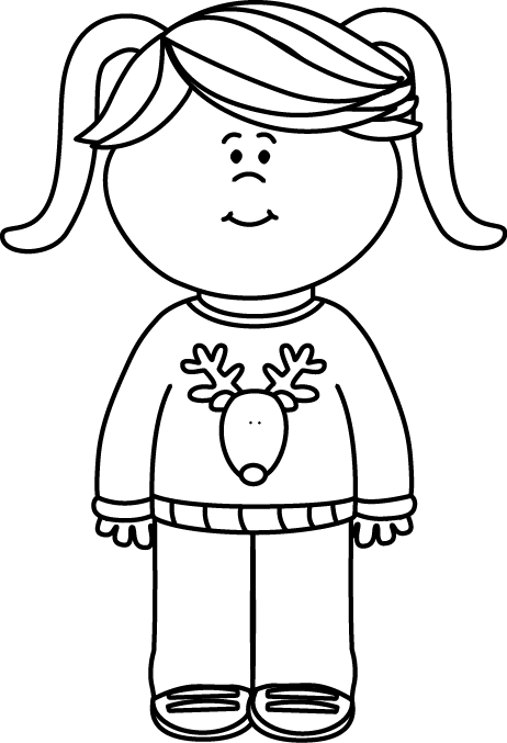 Black and White Girl Wearing a Christmas Sweater Clip Art