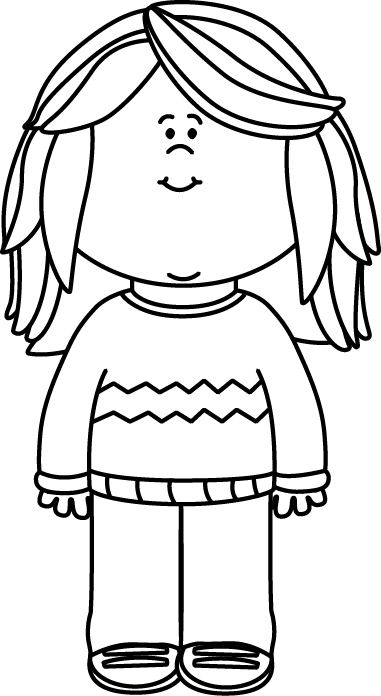 Black and White Girl Wearing a Sweater Clip Art