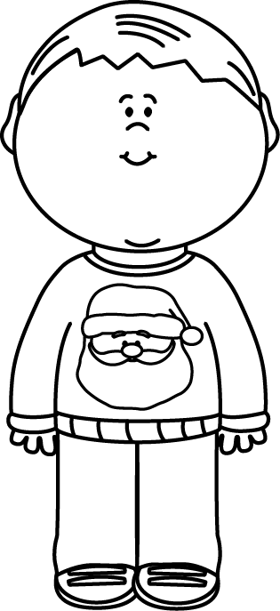 Black and White Kid Wearing a Christmas Sweater Clip Art