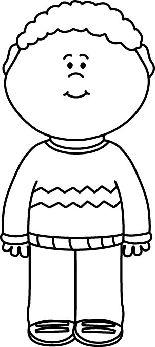 Black and White Kid Wearing a Sweater Clip Art