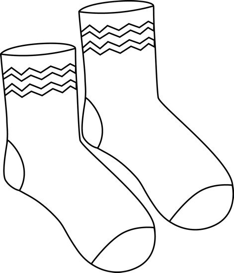 Black and White Pair of Funky Socks Clip Art