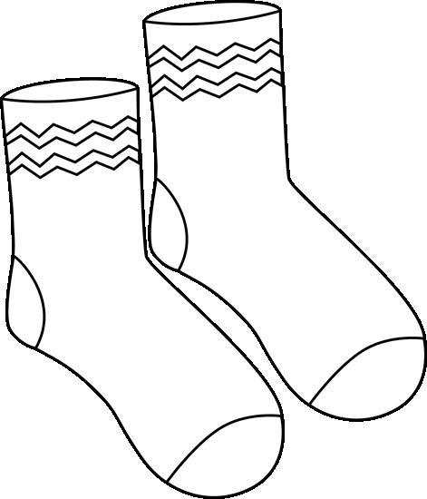 Black and White Pair of Funky Socks Clip Art