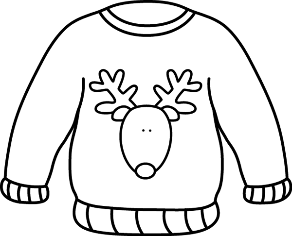 Black and White Reindeer Sweater Clip Art - black and white outline of ...