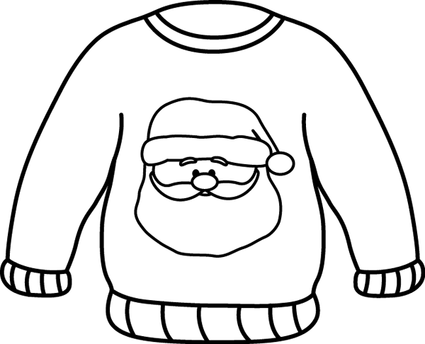 Black and White Santa Sweater Clip Art
