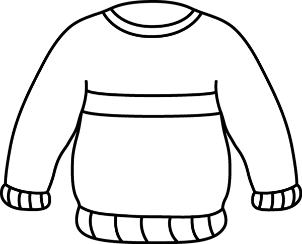 Black and White Striped Sweater Clip Art