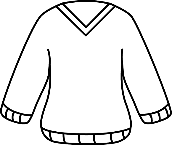 Black and White V-Neck Sweater Clip Art