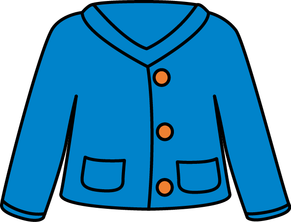 Blue Cardigan Clip Art - blue cardigan sweater with orange buttons and ...