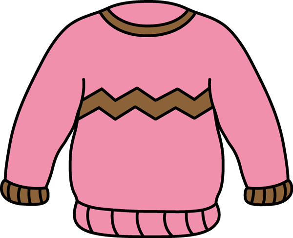 Brown and Pink Zig Zag Sweater Clip Art