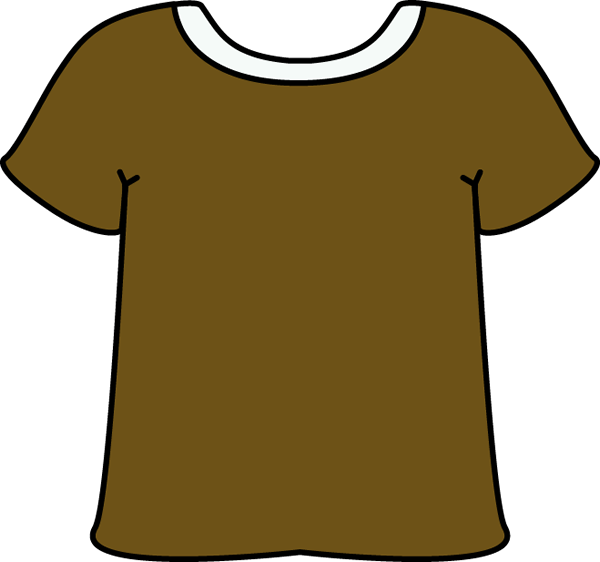 Brown Tshirt with a White Collar with a White Collar