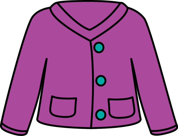 Cardigan Sweater Clip Art - purple cardigan sweater with blue buttons.