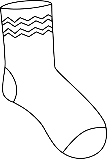 Black and White Funky Sock Clip Art